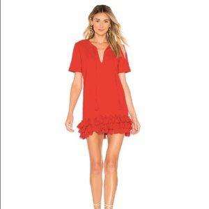 Red mini dress with tassels
